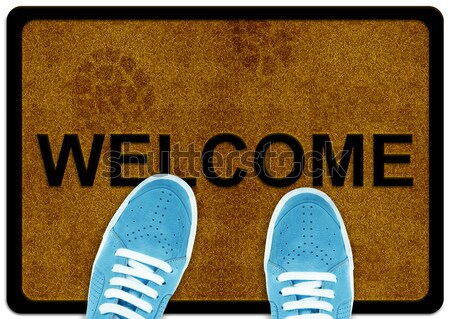 Stock photo: welcome cleaning foot carpet