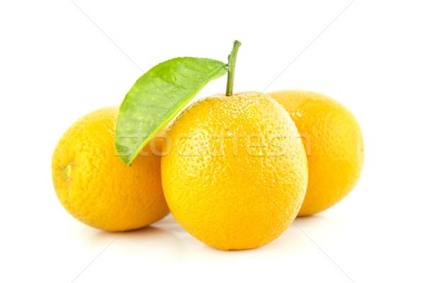 Foto stock: Doce · fruto · de · laranja · folhas · comida · folha · fruto