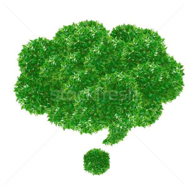 Zöld szövegbuborék fű izolált fehér textúra Stock fotó © designsstock