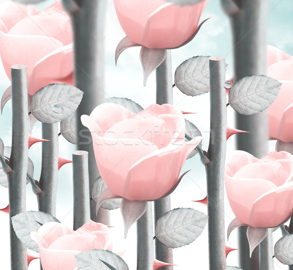Giallo giardino rose campo fresche cielo Foto d'archivio © designsstock
