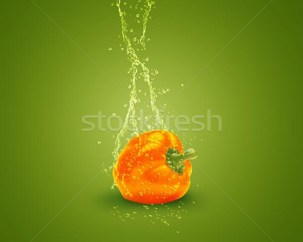 新鮮な オレンジ ピーマン 水 跳ね 緑 ストックフォト © designsstock