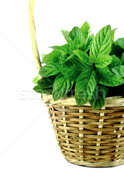 свежие мята листьев соломы корзины белый Сток-фото © designsstock