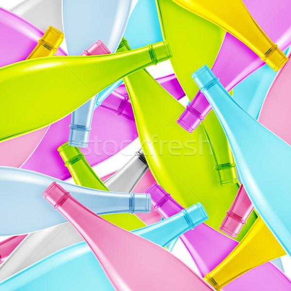 Színes üveg üveg szett üres üvegek Stock fotó © designsstock