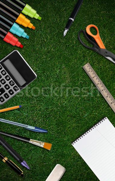 Terug naar school welkom exemplaar ruimte kantoor school potlood Stockfoto © designsstock