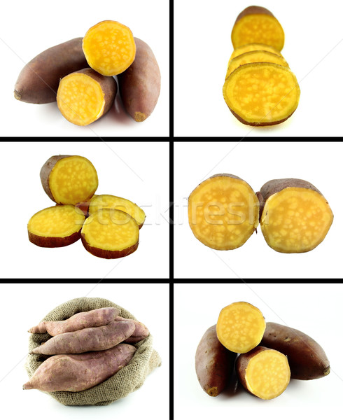 Saudável alimentos orgânicos conjunto fresco doce batatas Foto stock © designsstock