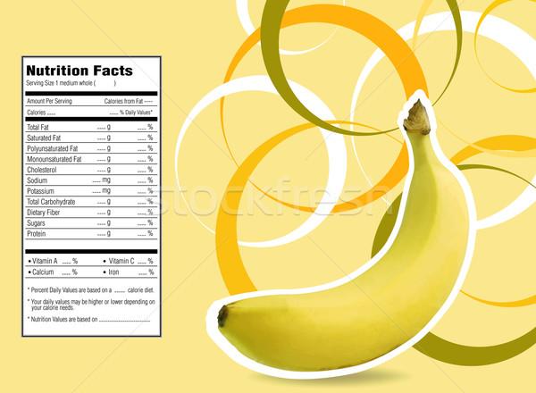 Kreatív terv banán táplálkozás tények címke Stock fotó © designsstock