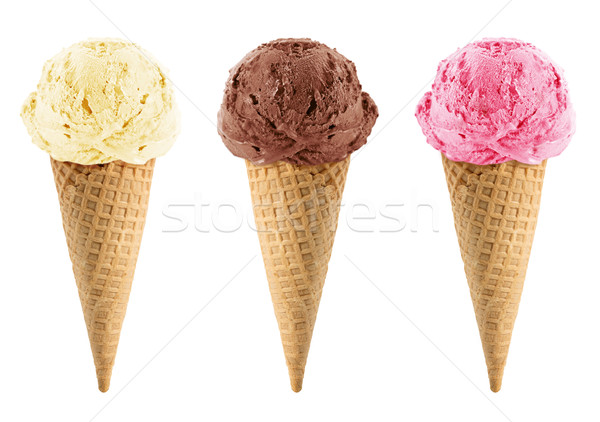 Schokolade Vanille Erdbeere Eis Eistüte weiß Stock foto © designsstock