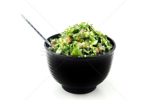 Сток-фото: Салат · черный · пластина · белый · фон · зеленый