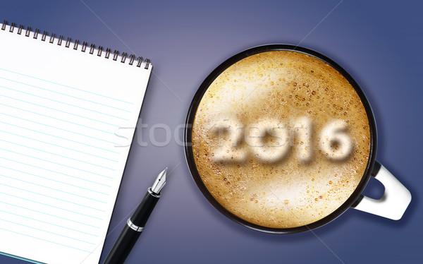 Gelukkig nieuwjaar 2016 beker nummers schuim Stockfoto © designsstock