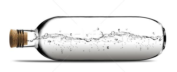 ガラス ボトル 水 コルク 白 背景 ストックフォト © designsstock