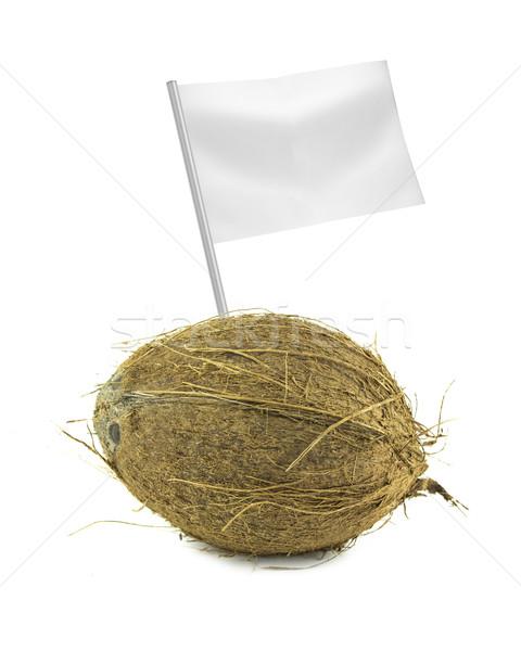 Saudável alimentos orgânicos fresco coco bandeira Foto stock © designsstock