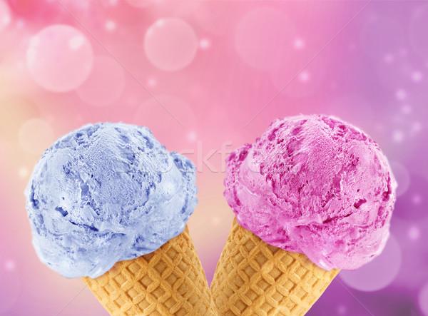 Fagylalttölcsér kék absztrakt fény nyár labda Stock fotó © designsstock