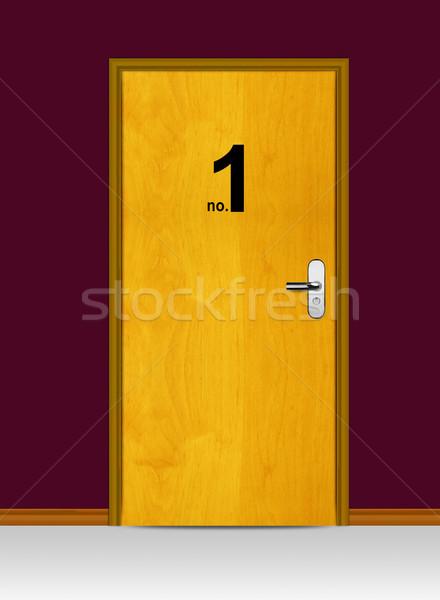 Fából készült ajtó legelső citromsárga ház otthon Stock fotó © designsstock