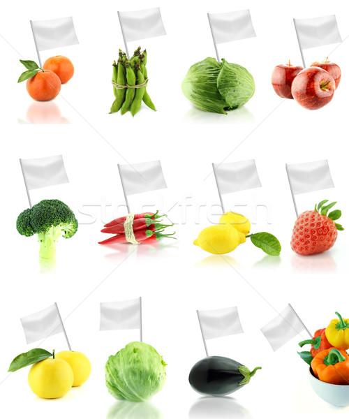 Egészséges bioélelmiszer szett friss gyümölcsök zöldségek Stock fotó © designsstock