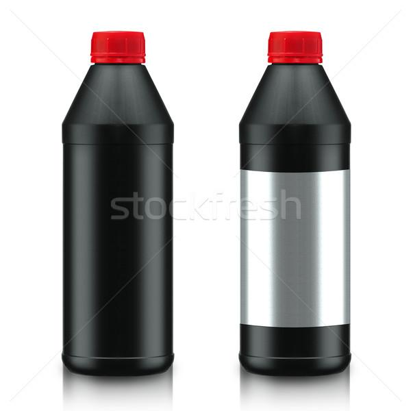 Olie fles zwarte geïsoleerd witte werk Stockfoto © designsstock