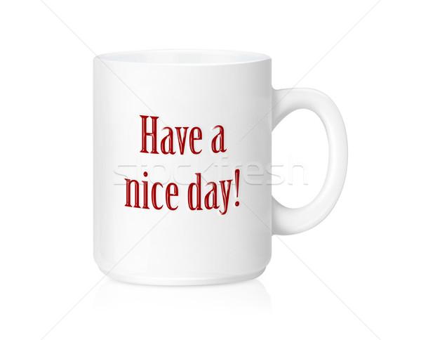 Witte keramische mok mooie dag geïsoleerd Stockfoto © designsstock