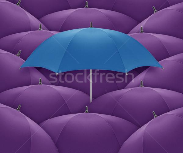 Guarda-chuva azul multidão individualidade único Foto stock © designsstock
