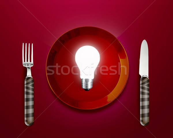 Yaratıcı düşünme beyin fırtınası parıltı lamba kırmızı plaka Stok fotoğraf © designsstock