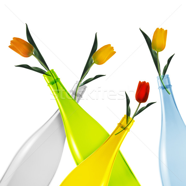Stock photo: Colored glass bottle