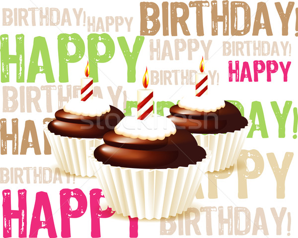 greeting card from chocolate Birthday cupcake with candle and cr Stock photo © designsstock