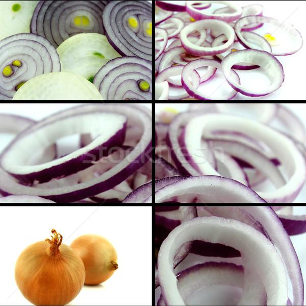 Egészséges bioélelmiszer szett friss szeletel hagyma Stock fotó © designsstock