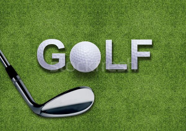 Golf ball and putter on green grass  Stock photo © designsstock