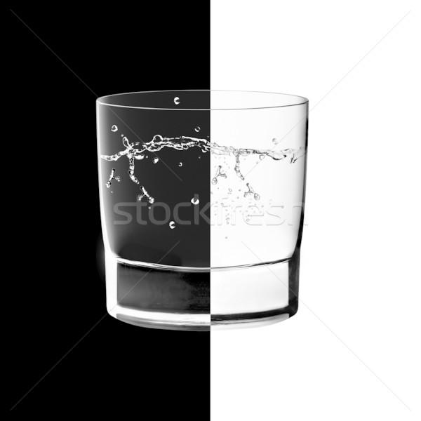 Verres rétroéclairage blanc noir contraste eau fond Photo stock © designsstock