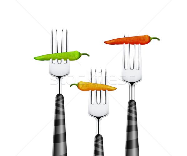 Pimenta três isolado branco saúde Foto stock © designsstock