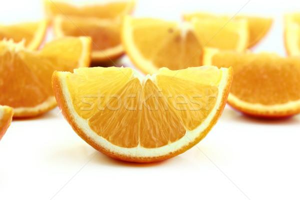 Narancs édes narancs szeletek fehér étel Stock fotó © designsstock