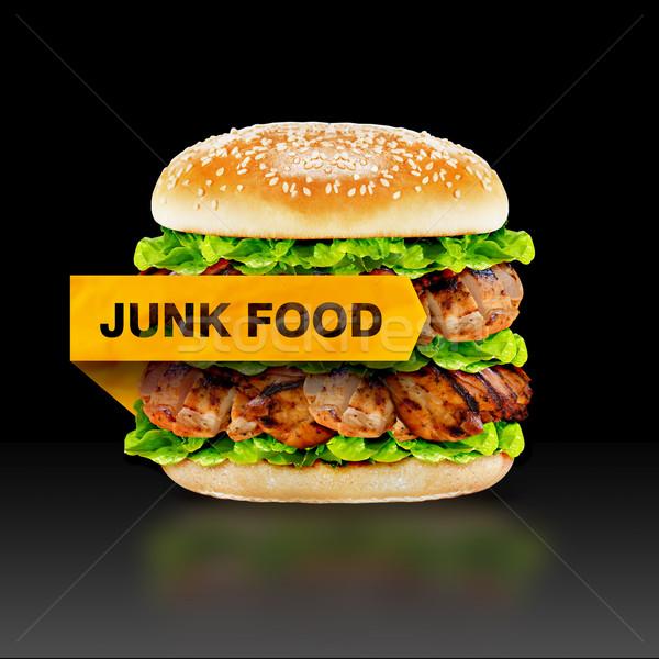 Hamburger waarschuwing bericht zwarte Stockfoto © designsstock