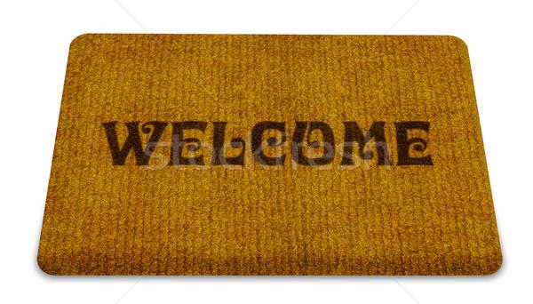 üdvözlet takarítás láb szőnyeg barna izolált Stock fotó © designsstock