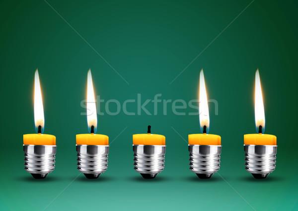 Wax candle into lighting bulb  Stock photo © designsstock
