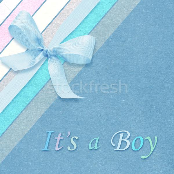 Baba fiú érkezés kártya copy space terv Stock fotó © designsstock