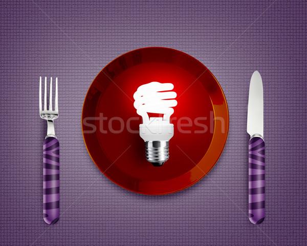 創造的思考 ブレーンストーミング グロー ランプ 赤 プレート ストックフォト © designsstock