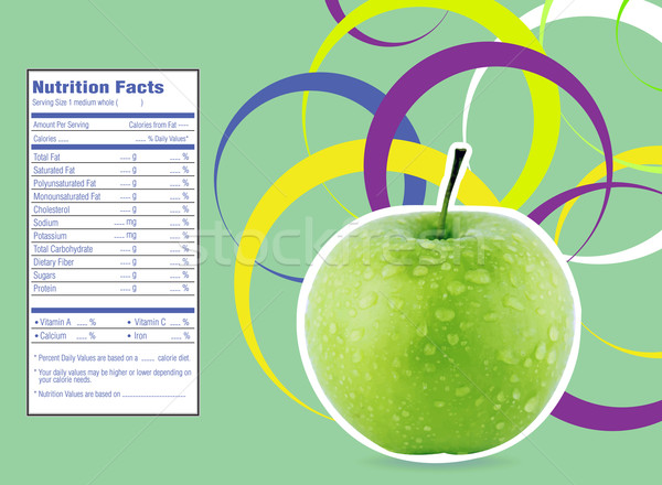 creative design for green apple with Nutrition facts label. Stock photo © designsstock