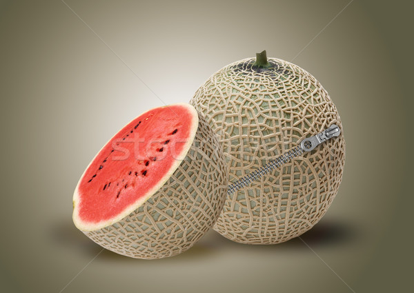 Melon and red water melon inside Stock photo © designsstock