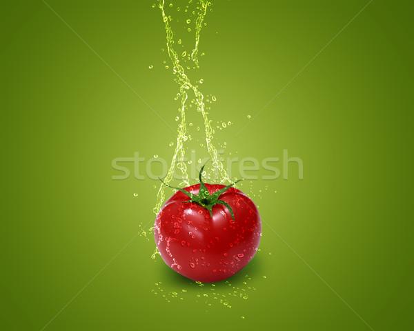 Frischen rot Tomaten Wasser Spritzer grünen Stock foto © designsstock