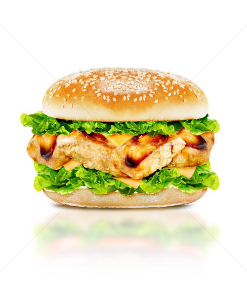 Stockfoto: Heerlijk · kip · hamburger · rundvlees · tomaat · kaas