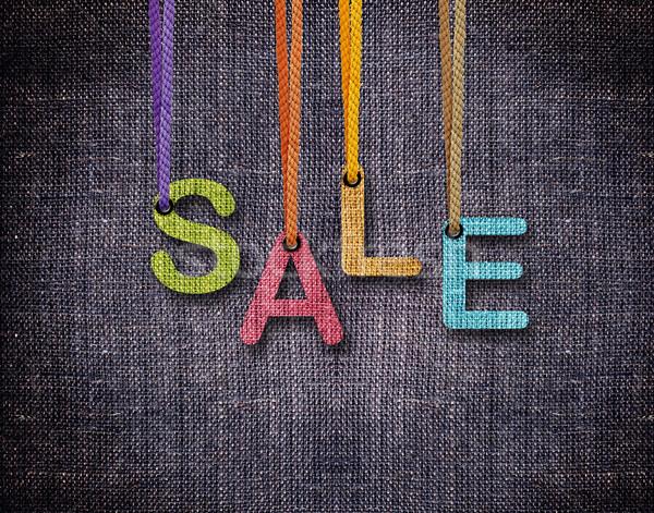 Brieven opknoping verkoop Blauw textuur vintage Stockfoto © designsstock