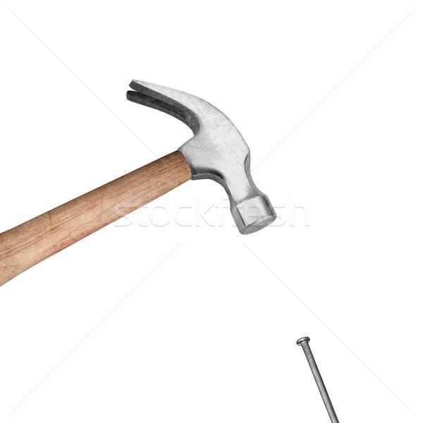 Kalapács szög fehér építkezés háttér munkás Stock fotó © designsstock