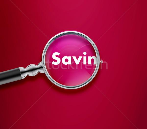 Lupą oszczędność słowo różowy szkła tle Zdjęcia stock © designsstock