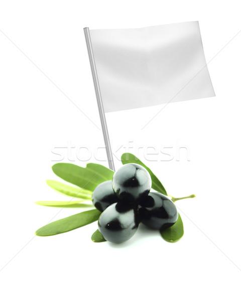 Saudável alimentos orgânicos fresco preto oliva bandeira Foto stock © designsstock