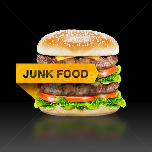 Ungesundes Essen burger Warnung Nachricht schwarz Stock foto © designsstock