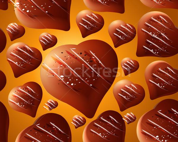 Végtelenített csokoládé szívek absztrakt szív alak szeretet Stock fotó © designsstock