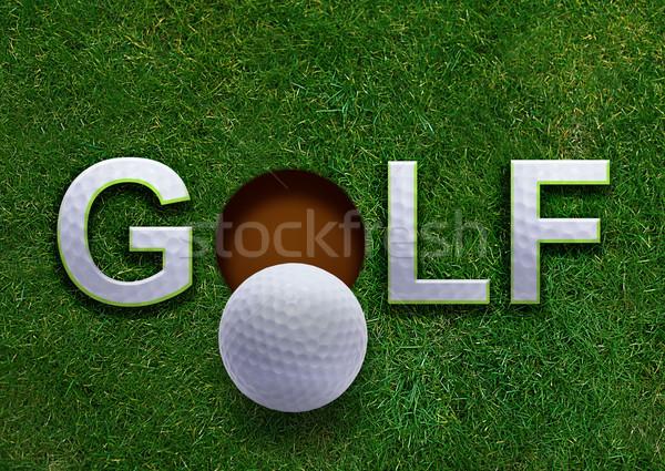 Golfe palavra grama verde golfball lábio buraco Foto stock © designsstock