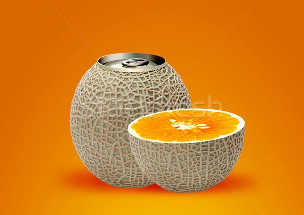 melon can and half orange Stock photo © designsstock