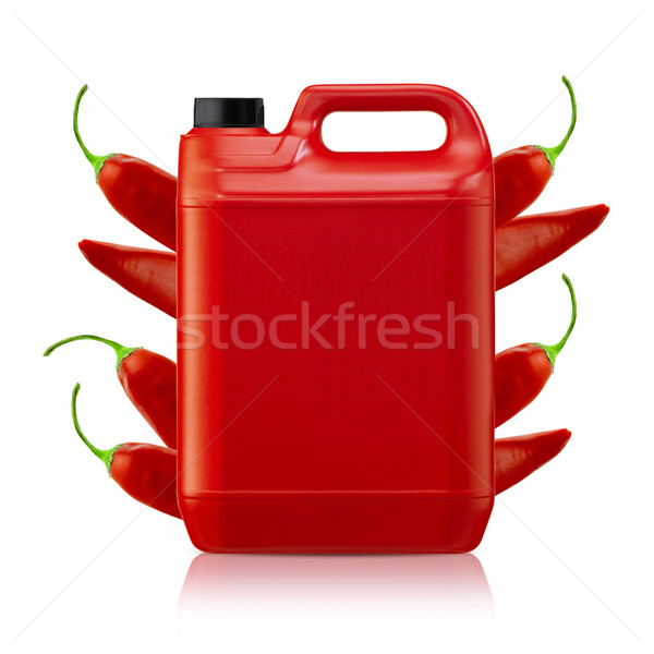 Chili saus hot plastic gallon Stockfoto © designsstock
