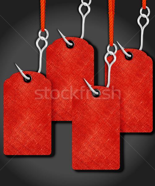 ár címkék piros halászat kampó papír Stock fotó © designsstock