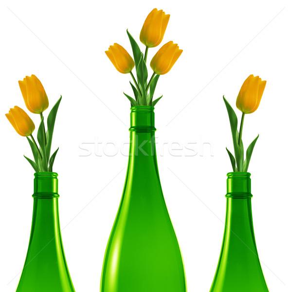 Zdjęcia stock: Zielone · szkła · butelki · trzy · butelek · żółty
