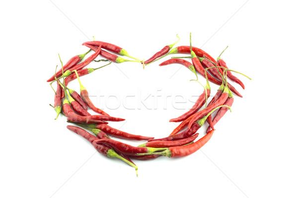 Forró chilipaprika piros gyártmány szeretet szív alak Stock fotó © designsstock